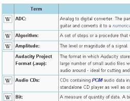 Audacity Glossary